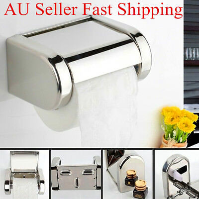 Stainless Steel Chrome Toilet Bathroom Wall Mounted Roll Paper Tissue Box Holder