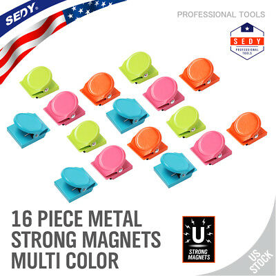 16PC Refrigerator Wall Magnetic Memo Note Clip Spring Loaded colorized Office