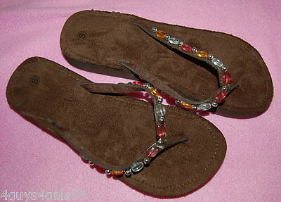 Womens Shoes BROWN FLIP FLOPS Pink Amber White Silver BEADED STRAP Size S 6-7