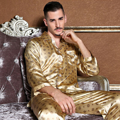 NEW Mens Silk Satin Pajamas Pyjamas Set Sleepwear Set Loungewear E002 M L Gifts