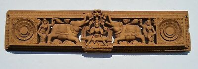 Beautiful Antique Hand Carved Indian Wood Panel Depicted Elephant, Nude Deity