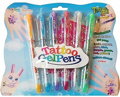 Temporary Tattoo Gel Pens Flash Body Paint+Stencil Quick Dry For Children'S Gift