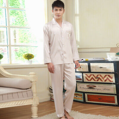 NEW Mens Silk Satin Pajamas Pyjamas Set Sleepwear Set Loungewear E009 M L Gifts