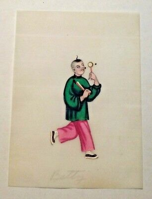 Chinese Watercolor On Pith/rice Paper Late 19Th Century