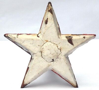 Cast iron star architectural tie in, in weathered old white paint & red touches