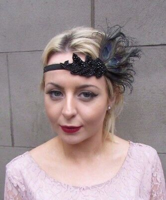Black Feather Headpiece 1920s Headband Flapper Fascinator Vtg Great Gatsby 4334