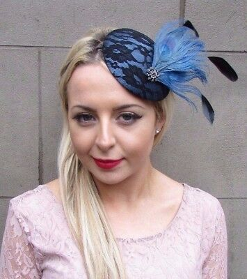 93fa26dc926 Black Steel Blue Statement Feather Fascinator Races Pillbox Hat Vtg Races  4335