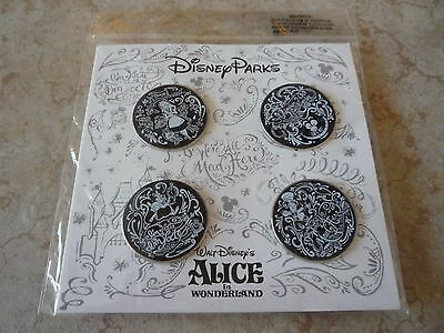 Pin Trading Disney Pins Lot of 4 Authentic Brand New Alice Wonderland Set Chalk