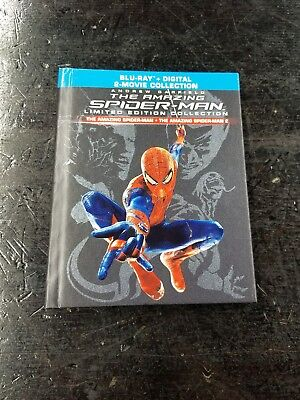 THE AMAZING SPIDER-MAN  1 & 2 Limited Edition Blu Ray Digibook 3 Disc NO digital