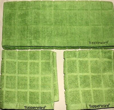 TUPPERWARE Microfiber Towels Mulitpurpose Kitchen Set of 3 Basil Green NEW!
