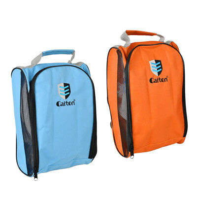 2Pcs Ventilated Golf Shoes Bag Zipped Sports Shoes Case Bag - Orange & Blue