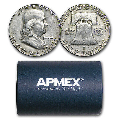 90% Silver Franklin Halves $10 20-Coin Roll Avg Circ - SKU #5296