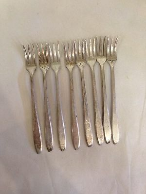 International Silver Co Set Of 8 Seafood Cocktail Forks Silverplate Plain
