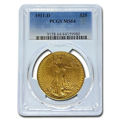1911-D $20 Saint-Gaudens Gold Double Eagle MS-64 PCGS - SKU #18655