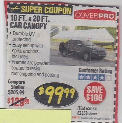 Harbor Freight SAVE $106 *** COUPON***for 10FT. x 20FT  sc 1 st  PicClick & Coupon to save $ on 10 Ft x 20 Ft Portable Car Canopy @ Harbor ...