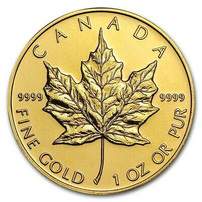Random Year 1 oz Gold Canadian Maple Leaf Coin BU - SKU #87709