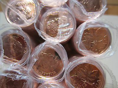 Roll of 2012 MAGNETIC Canada Small Cents (50 Coins). RED UNC. Mint Roll