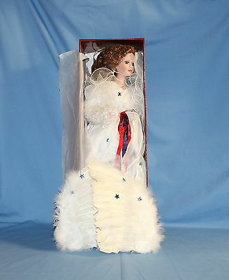 Patriotic Porcelain Angel Doll With Wings