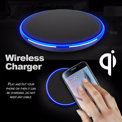 Qi Wireless Charger Slim Pad Mat Aluminum For iPhone X XS Max XR S7 Edge S9 Plus