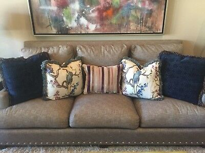 Cut Velvet Fabric Custom Designer Throw Pillows Set of 2, navy with fringe