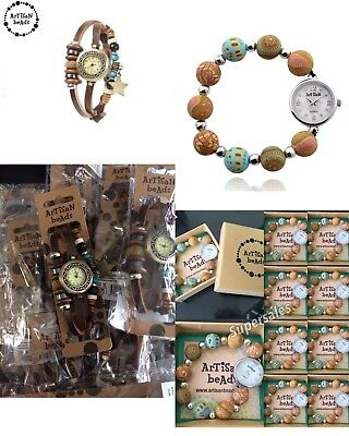 job lot wholesale 10 artisan beads Charmed leather watches and bead watches