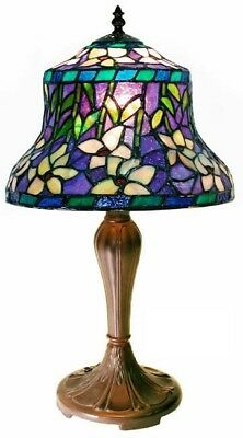 Tiffany Style Table Lamp Handcrafted Floral Stained Glass Shade Decor Light New
