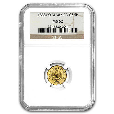 1888 Mo-M Mexico Gold 2 1/2 Pesos MS-62 NGC - SKU#153611