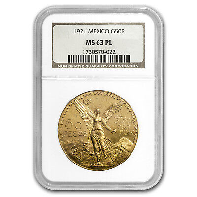 1921 Mexico Gold 50 Pesos MS-63 PL NGC - SKU#153598