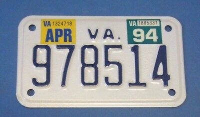 1994 Virginia Motorcycle License Plate excellent