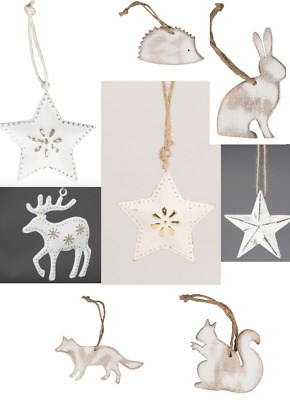 Shabby Chic / Rustic / Vintage Christmas Hanging Decorations Star Reindeer Tree
