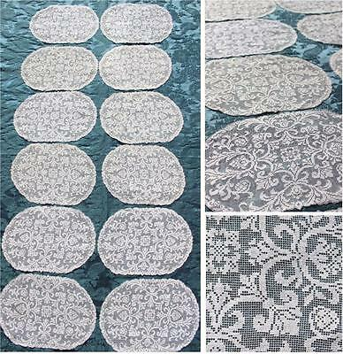 SET OF 12 VINTAGE ANTIQUE c. 1910 HANDCRAFTED FILET LACE NEEDLELACE PLACEMATS