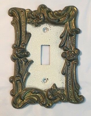 Single Toggle Light Switch Cover Plate Brass Vintage Edmar White Center