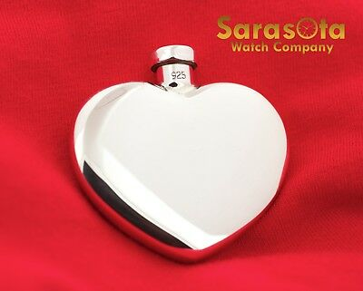 100% Authentic Tiffany&Co 925 Sterling Silver Heart Shaped Perfume Bottle Flask