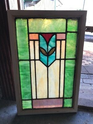 Sg 1624 Antique Stainglass Deco Window 16.25 X 25.5