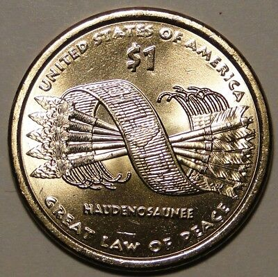 BU US 2010 Sacagawea Native American-GREAT LAW OF PEACE dollar $1 coin from roll