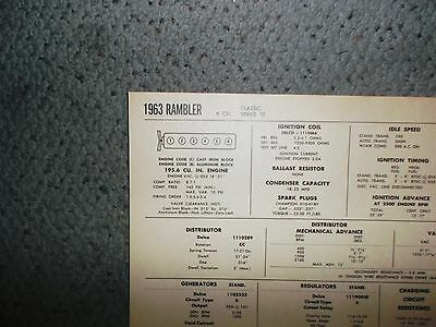 1963 Rambler SIX Series Classic 10 Models 195.6 CI L6 Tune Up Chart