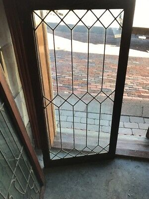 Sg 1627 Antique Leaded Glass Oak Bookcase Door 24 X 47.75