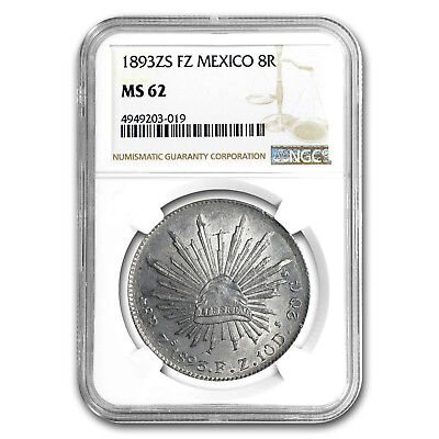 1893 Zs-FZ Mexico Silver 8 Reales MS-62 NGC