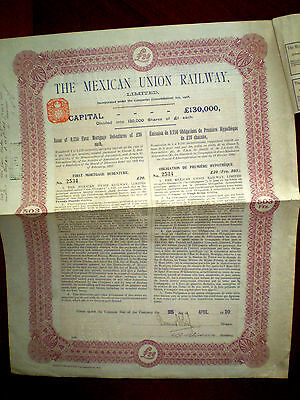 Mexico,Mexican Union Railway ,20 Pounds,uncancelled  bond certificate,1910    VF