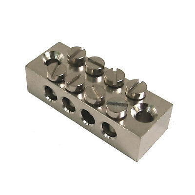 4 WAY EARTH BLOCK PLATED BRASS (8 SCREW TERMINALS) for HEAVY DUTY WIRE CABLE