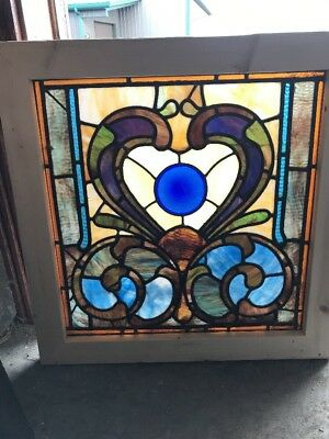 Sg 1632 Antique Stainglass Window 25.25 X 25.75