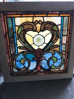 SG 1633 antique Stainglass landing window 27.25 x 27.75