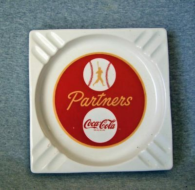 "1950s Coca-Cola ceramic ashtray~""Partners"" baseball theme~exc.cond."