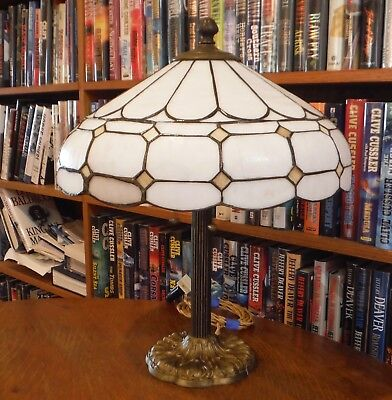 Antique Leaded Stained Slag Glass Lamp Miller Bradley & Hubbard Handel Style