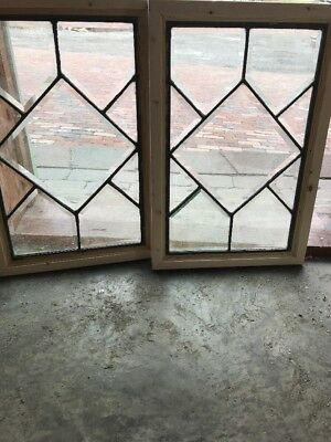 Matched Pair Antique All Belval Glass Windows 14.25 X 21