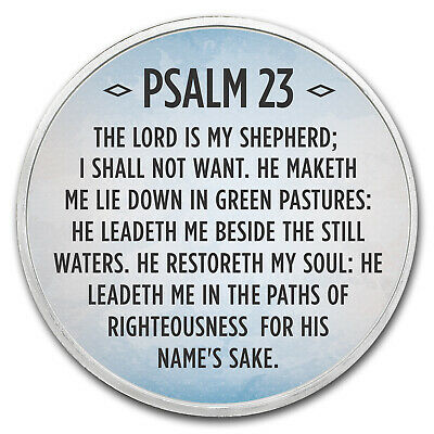 1 oz Silver Colorized Round - APMEX (Psalm 23, Sky Blue) - SKU #118094