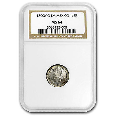 1800 Mo-FM Mexico 1/2 Real MS-64 NGC