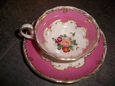 Deep Pink with Hand Painted Florals & Gold Radfords Fenton Tea Cup & Saucer 5499