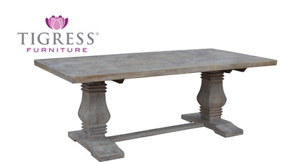 """Tuscany"" White Wash 210cm Parquetry Solid Hardwood Dining Table Pedestal Base"