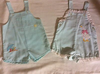 TWO VINTAGE BABY DOLL BLUE ROMPERS OVERALLS DUCKS AND BEACH 24 MO 50's 60's 70's